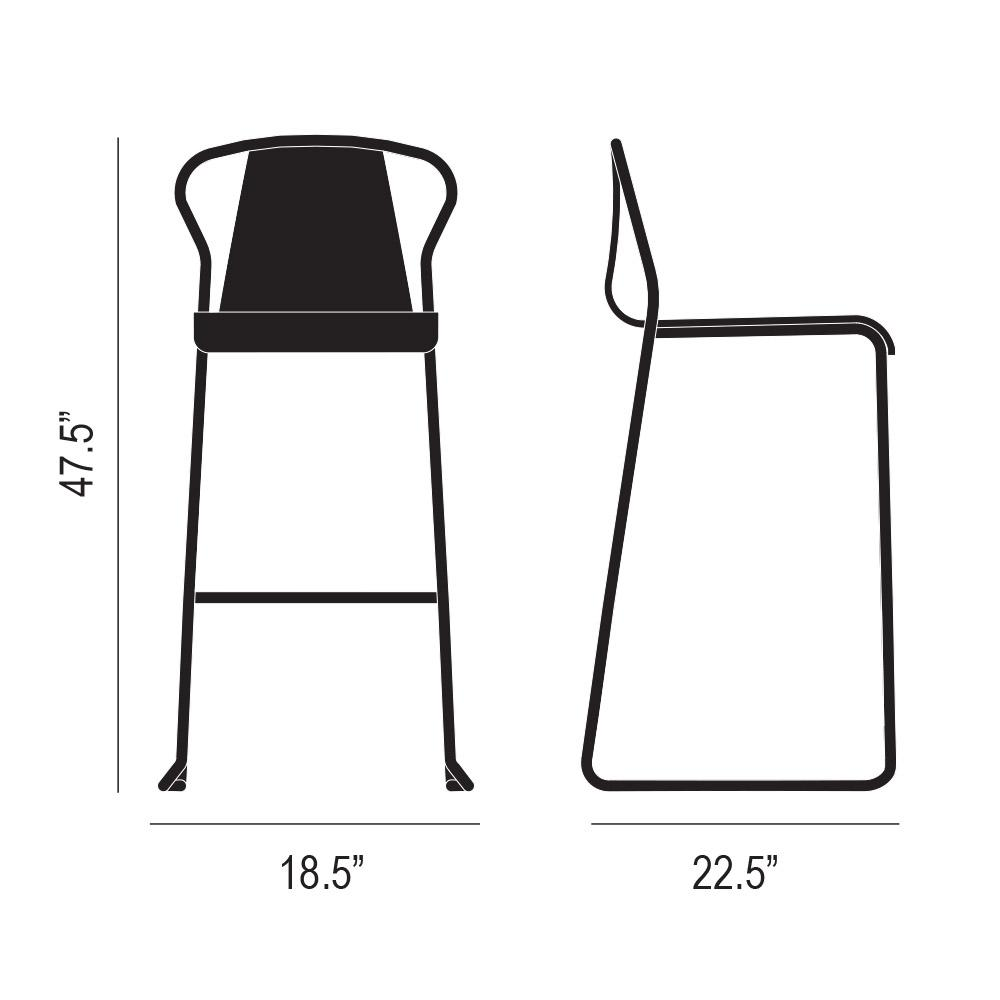 Fullerton Bar Stool Product Silhouette